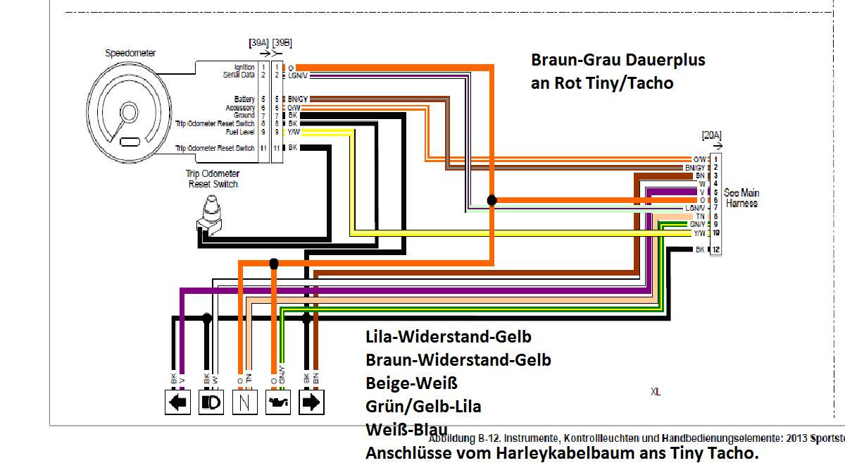 XL 883 Std./Iron: Kabelplan bzw. Kabelbelegung Iron Bj. 2010 (S. 1 ...
